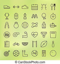 Sport and Healthy Lifestyle Line Big Icons Set. Vector Set...
