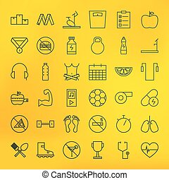 Fitness and Dieting Line Big Icons Set. Vector Set of Sport...
