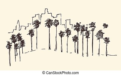 Los Angeles, California, Skyline Engraved Sketch - Los...