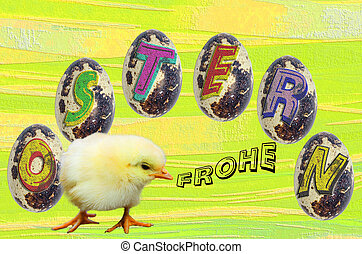 Easter image with eggs and chicks - Hand painted Easter eggs...