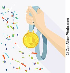 Golden medal in hand. Vector flat illustration