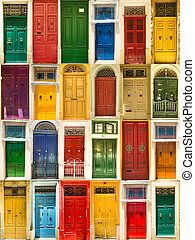 colourful front doors to houses - photo collage of colourful...