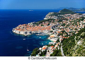 Aerial view of Dubrovnik, Croatia.