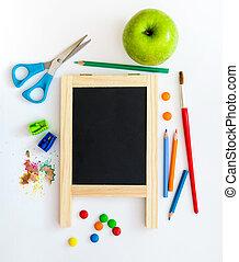 scuola, oggetti, gruppo, bianco, fondo