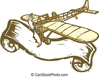 Aviation Banner - Vintage airplane with scroll banner in...
