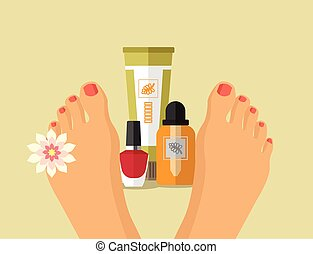 Vector spa feet flat illustration