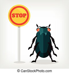 Stop insects vector flat illustration