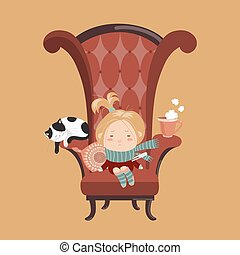 Cute girl sick cold sitting in the big chair. Vector...