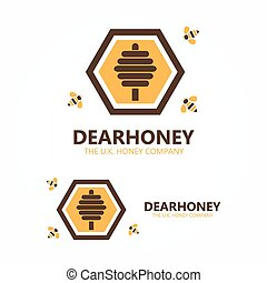 Honey and bee logo - Vector logo design element with...