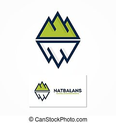 Vector logo combination of a mountain and iceberg - Vector...