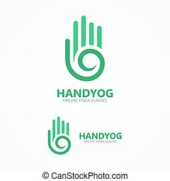 Vector hand with a spiral logo