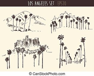 Set Los Angeles California Skyline Engraved Sketch - Los...