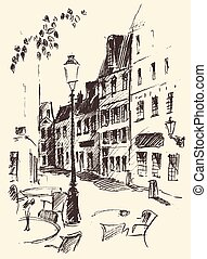 Streets in Paris, France, Vintage Hand Drawn - Streets in...
