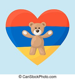 Armenian Teddy Bears - Teddy Bears with heart with flag of...