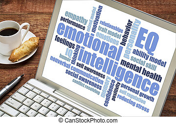 emotional intelligence EQ word cloud on a laptop screen with...