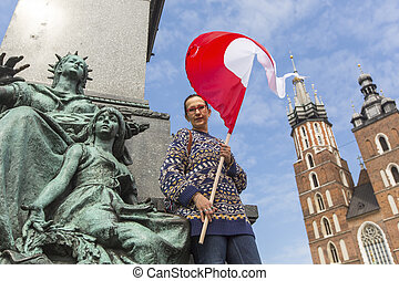 woman with the flag of Poland - Young woman with the flag of...
