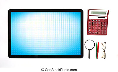 Touch pad with empty screen on table