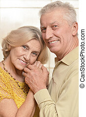 Happy elderly couple posing against