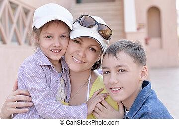 mãe, crianças, férias