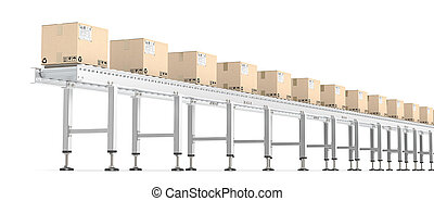 Roller Conveyor. - Horizontal view of Industrial Roller...