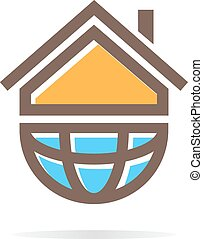 Logo combination of a house and earth - Vector logo design...