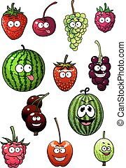 Fresh cartoon berries and fruits