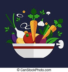 Fresh healthy vegetable cookery ingredients