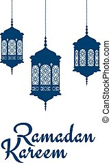 Ramadan Kareem design with arabic lanterns