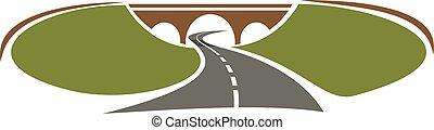 Icon of highway passes under bridge between green hills for...