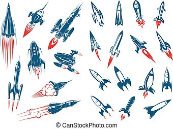 Space rocket ships and military missiles - Outer space...