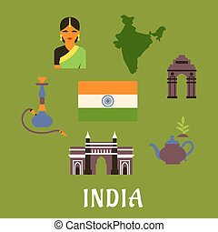 India culture and travel concept with colored icons of...