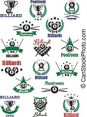 Billiards, snooker and pool emblems with balls, cues, trophy...