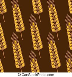 Seamless pattern with ripe golden wheat ears