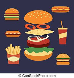 Flat icons of assorted takeaway food