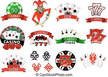 Colored casino and poker icons - Large set of colored casino...