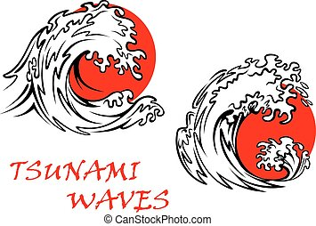 Tsunami waves with red sun behind