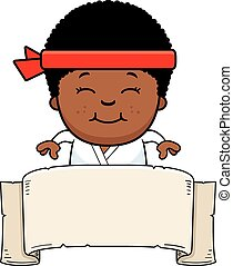 Cartoon Karate Kid Banner - A cartoon illustration of a...