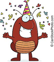 Cartoon Flea Celebrating - A cartoon illustration of a flea...
