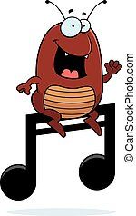 Cartoon Flea Music Note