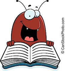 Cartoon Flea Reading - A cartoon illustration of a flea...
