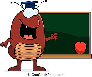 Cartoon Flea Teaching - A cartoon illustration of a flea...