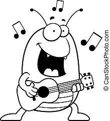 Cartoon Flea Ukulele - A cartoon illustration of a flea...