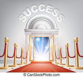 Success Red Carpet Door - An illustration of a posh looking...