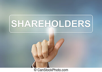 business hand clicking shareholders button on blurred...