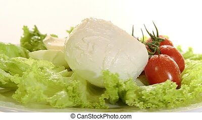 mozzarella with tomato and salad