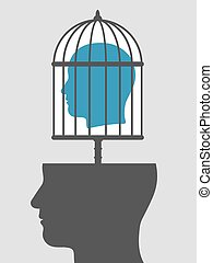Caged mind above a head silhouette - Conceptual illustration...