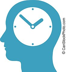 Head silhouette with a clock inside