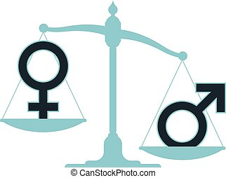 Unbalanced scale with male female - Unbalanced scale with...