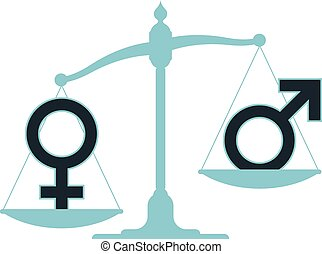 Scale with male female imbalance - Old-fashioned pan scale...