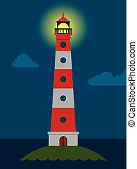 Striped red and white lighthouse at night with its lamp...